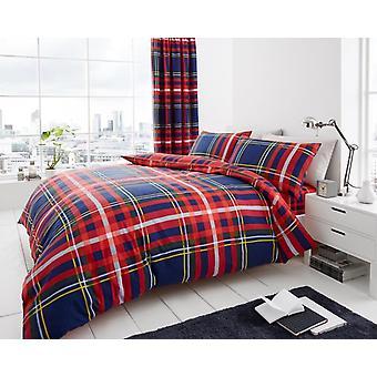 Newton Tartan kontroll 4 st tryckta påslakan monterad plåt sängkläder