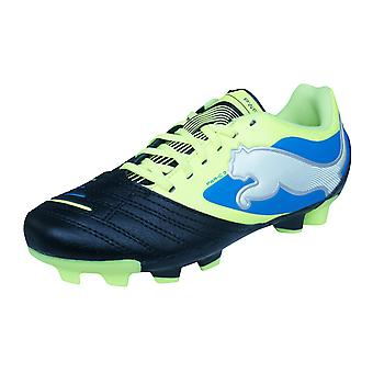 Puma PowerCat 3 FG Boys Leather Football Boots / Cleats - Black and Yellow