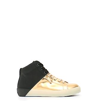 Leather Crown women's MCBI185003O black/gold leather Hi Top sneakers