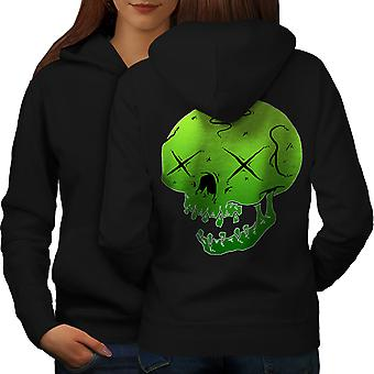Green Dead Goth Women BlackHoodie Back | Wellcoda