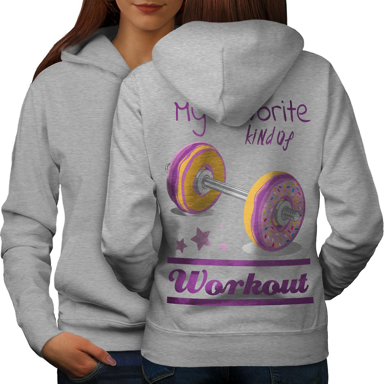 Donut Workout lever Sport femmes grisHoodie dos