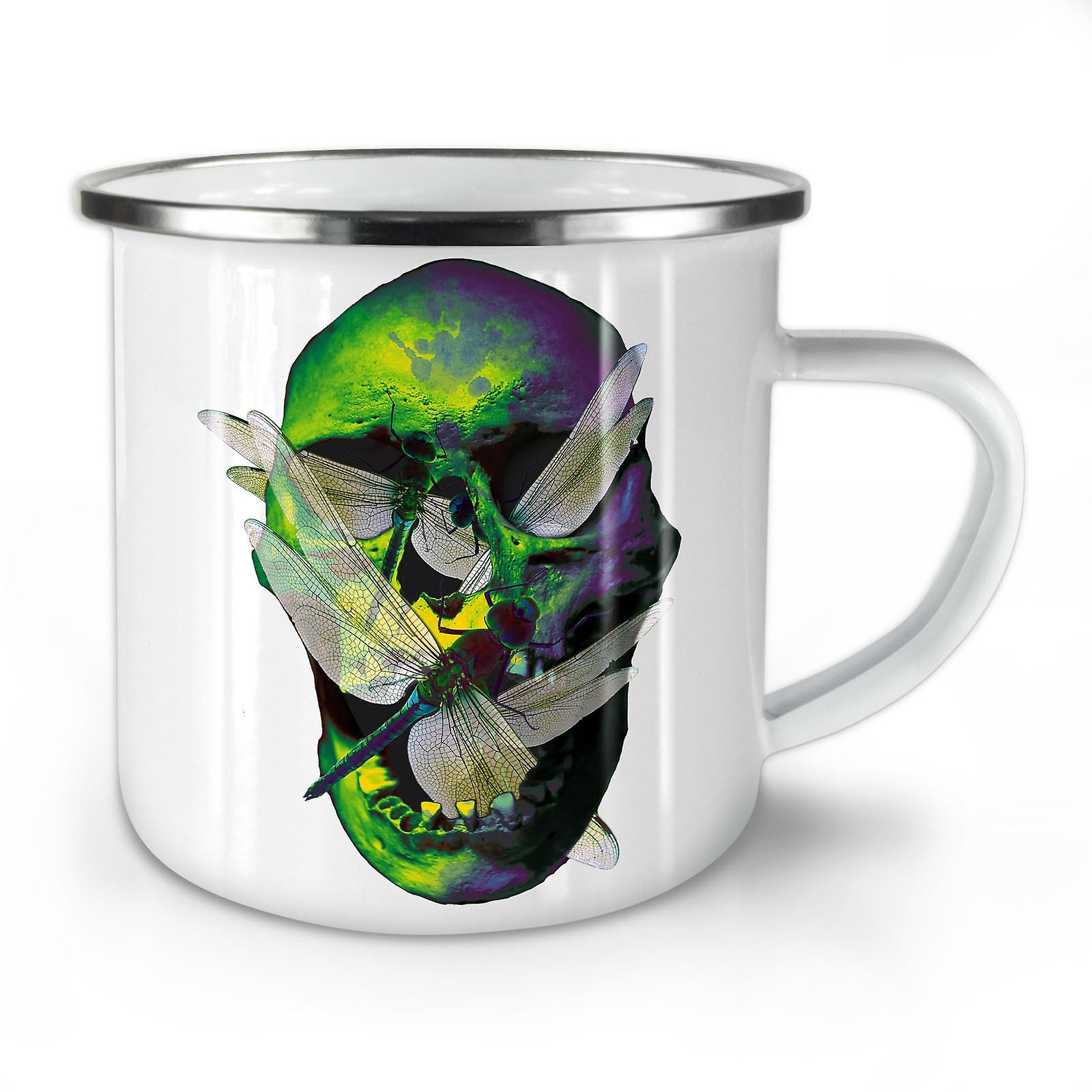 New Bug Skull Art Metal Coffee OzWellcoda Mug10 Enamel Whitetea zGqSUpVM