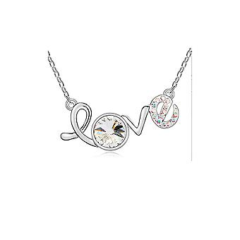 Love necklace adorned with crystal from Swarovski White and White Gold Plated