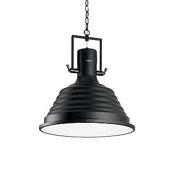Ideal Lux Black Industrial Fisherman 48cm Dome Pendant Light