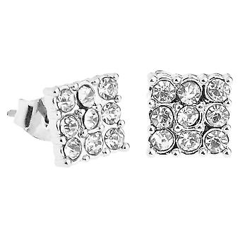Iced out bling earrings box - 3 x 3 SQUARE silver 8 mm