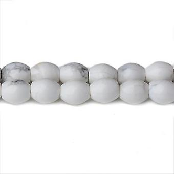 Strand 48+ White Howlite 6 x 8mm Plain Rice Beads CB32350-2