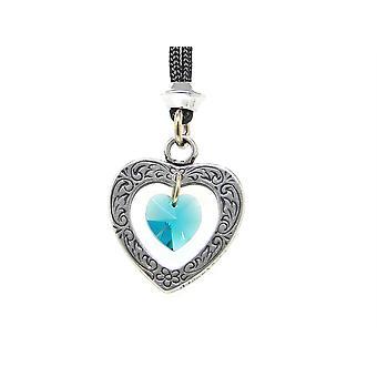 Handmade Celtic Heart March Aquamarine Crystal Birthstone Pewter Pendant