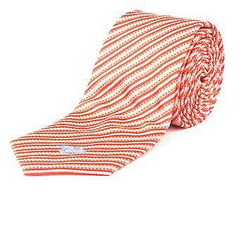 Versace Herren schlanke Seide Medusa gestreift Krawatte lachsrosa