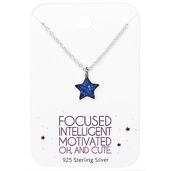 Star Necklace On Cute Card - 925 Sterling Silver Sets - W35914X