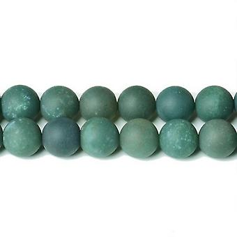 Strand 32+ Green Moss Agate 10mm Frosted Plain Round Beads CB32498-4