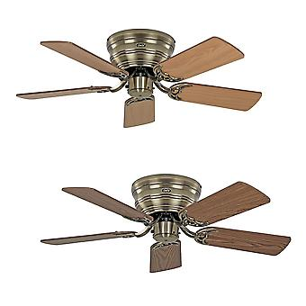 Flush mount Ceiling fan Classic FLAT III Antique Brass