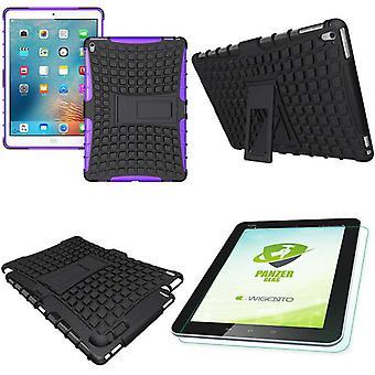 Hybrid udendørs etui lilla for iPad Pro 9,7 taske + 0,4 H9 pansrede glas