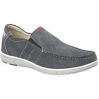 Mens Leather Nubuck Smart Leisure Slip On Lightweight Casual Boat Shoes