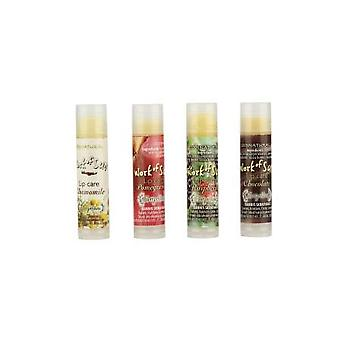 Set, with 4 delicious 100% natural beeswax lip balms