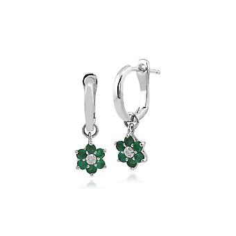 Gemondo 9ct White Gold Emerald and Diamond Floral Hoop Earrings