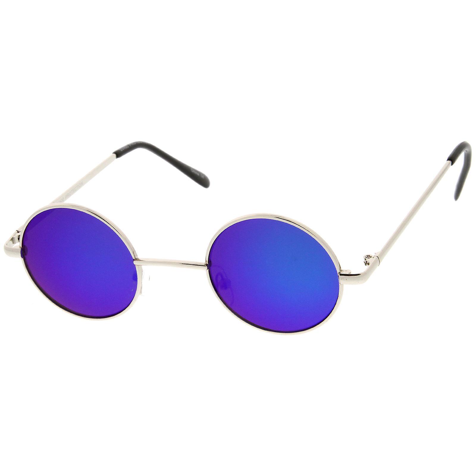 Retro Lennon Style Small Metal Colored Lens 41mm Round Mirror Sunglasses UGqzSVMp