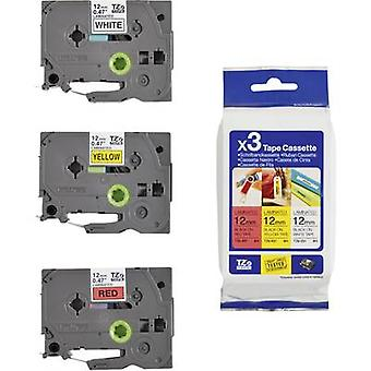 Labelling tape 3-piece set Brother TZe, TZ TZe-31M3 Tape colour: White, Yellow, Red Font colour:Black 12 mm 8 m