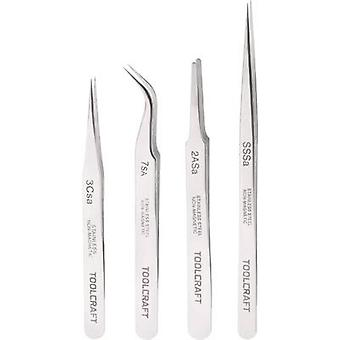 TOOLCRAFT 816747 Tweezer set 4-piece SS SA, 2a SA, 7 SA, 3c SA Flat, round, Sickle-shape, curved (55°), Pointed, Pointed, slim