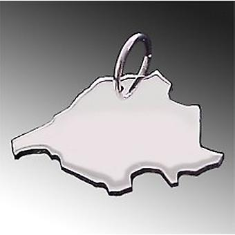 Trailer map SAARLAND pendant in solid 925 Silver