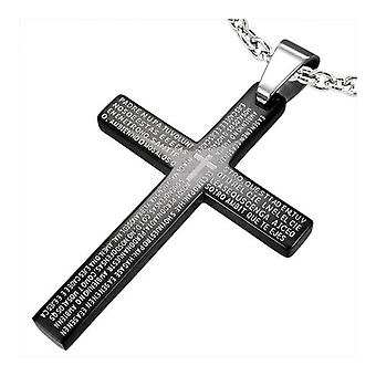 Black Stainless Steel The Lords Prayer Cross Design Pendant With Spanish Scripture and Chain