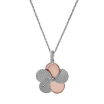 Orphelia 925 Silver Pendant with Chain 42 CM Flower Shaped Rose and Zirconium