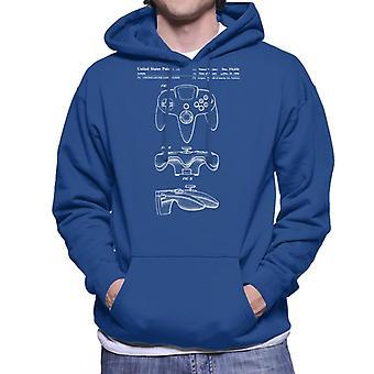 Nintendo 64 N64 Controller Patent Blueprint Men's Hooded Sweatshirt