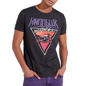 Wrangler Mens Ringer Retro Vintage Crewneck Short Sleeve Tee T-Shirt Top - Black