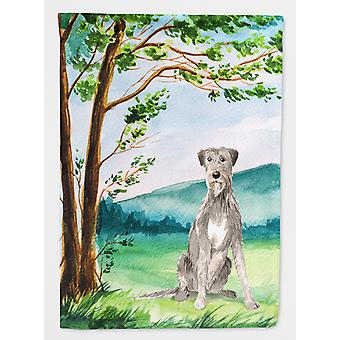 Under the Tree Irish Wolfhound Flag Canvas House Size