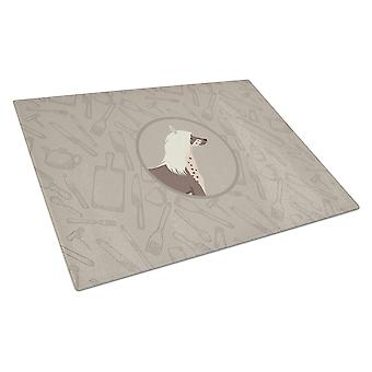 Chinese Crested In the Kitchen Glass Cutting Board Large