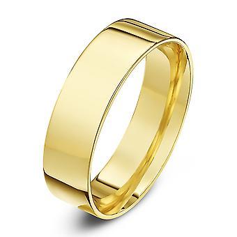 Star Wedding Rings 18ct Yellow Gold Light Flat Court Shape 6mm Wedding Ring