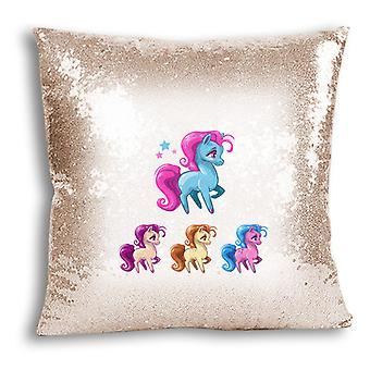 i-Tronixs - Unicorn Printed Design Champagne Sequin Cushion / Pillow Cover for Home Decor - 11