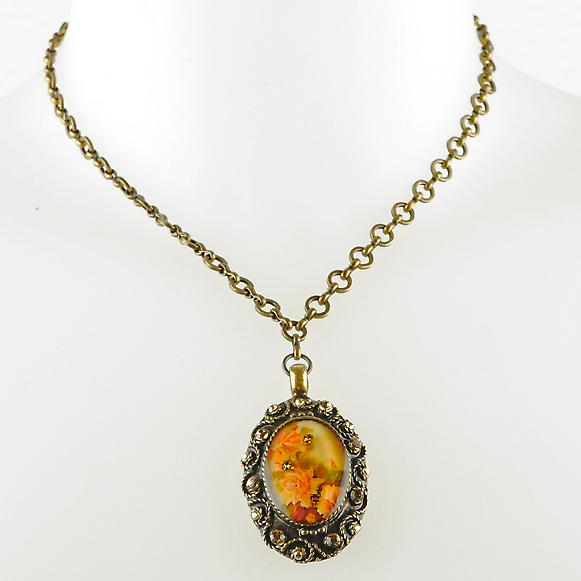 Waooh - Jewelry - WJ0263 - necklace with Rhinestone Swarovski - color copper - pattern flower pendant