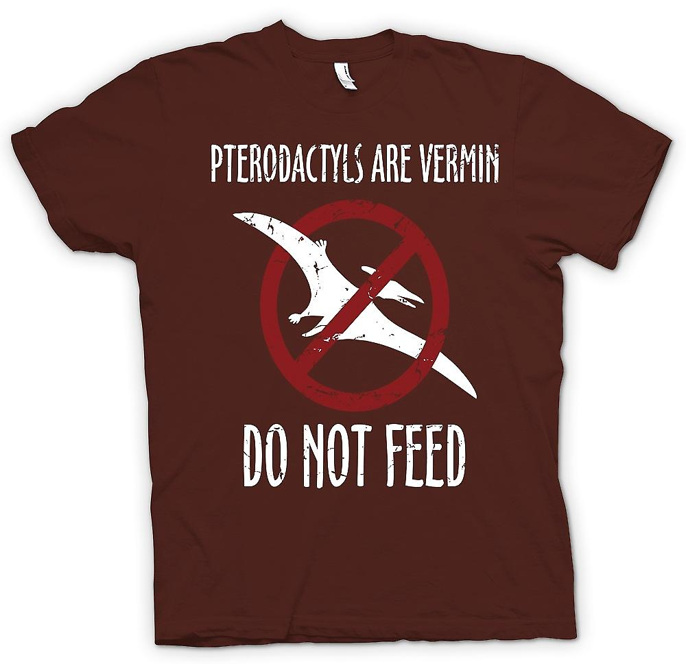 Mens T-shirt - Pterodactyls Are Vermin - Do Not Feed Sign