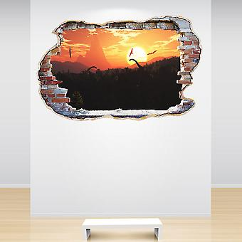 Full Colour Dinosaur Prehistoric Smashed Wall 3D Effect Wall Sticker