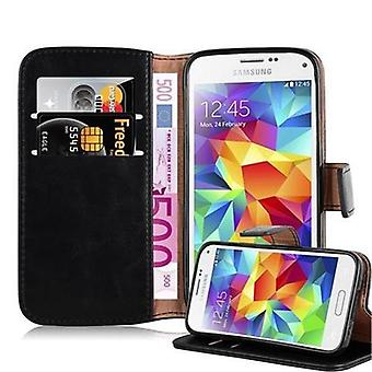 Cadorabo sleeve for Samsung Galaxy S5 MINI / S5 MINI duo - case in the luxury design with map pocket and still function - case cover sleeve case pocket book