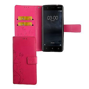 Carcaça do telefone móvel para Nokia 3.1 / capa de proteção de carteira de bolso Nokia 3 2018 caso rosa