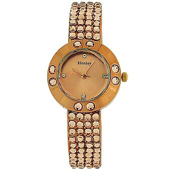 Henley Glamour Ladies Bling Crystal Bronze Faceted Glass Watch H07128.2