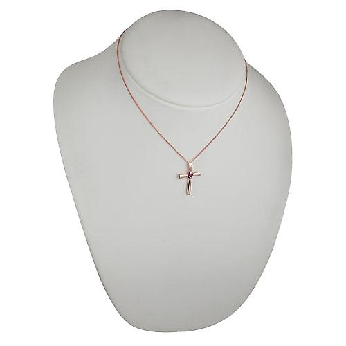 9ct Rose Gold 30x22mm plain fancy Cross set with a Ruby on a curb Chain 16 inches Only Suitable for Children