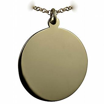 9ct Gold 30mm round plain round Disc with a belcher Chain 16 inches Only Suitable for Children