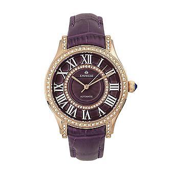 Empress Xenia Automatic Leather-Band Watch - Purple