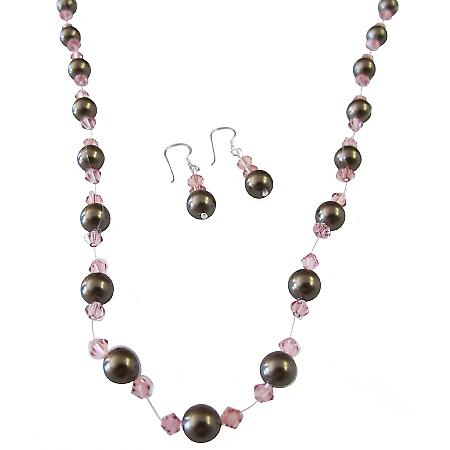 Chocolate Brown Pearls Pink Crystals Wedding Handcrafted Jewelry Set