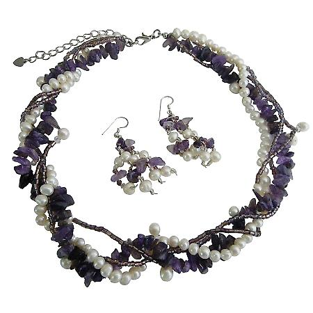 Multi String Freshwater Pearl & Genuine Amethyst Stone Chips Handcrafte Necklace Sterling Silver Earrings