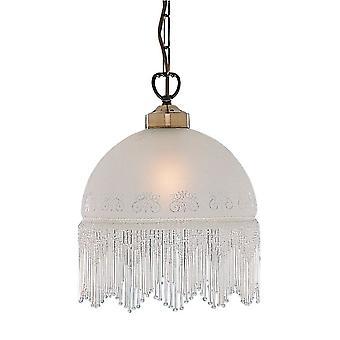 Viktoriansk antik mässing hänge med syra etsade glas - Searchlight 900-10AC