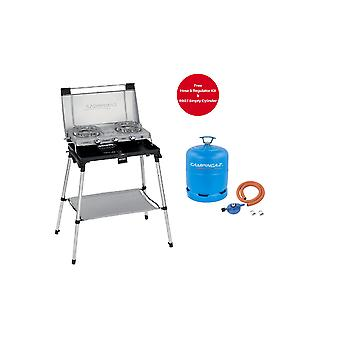 Campingaz 600 Series Standing Stove and Toaster Silver + Free Campingaz Hose &