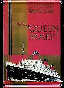 Queen Mary Cunard / White Star metal postcard / mini sign