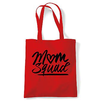 Mum Squad, Funny Mum Tote Bag | Reusable Shopping Cotton Canvas Bag Long Handled Natural Shopper Eco-Friendly Fashion | Gym Book Bag Birthday Present Gift Her | Multiple Colours Available