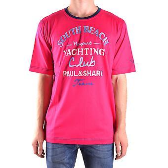 Paul & Shark Fuchsia Cotton T-shirt