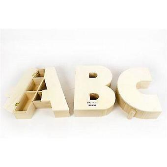 Houten Versier je eigen alfabet opbergdoos 27cm 3/Set (A-B-C)