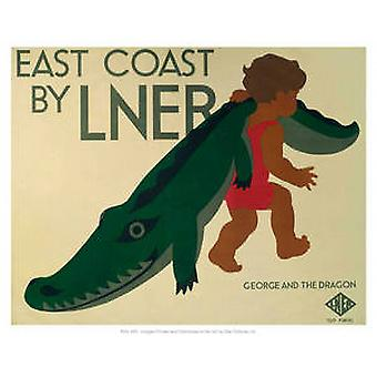 East Coast LNER (croc) (old rail ad.) mounted print for framing