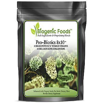 ProBiotics 8x10 with Fiber - 8 Strains of 10 Billion Live Organisms per Serving, 30 Srv ING: Organic Powder